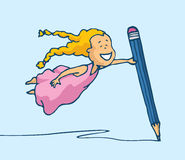 Flying girl drawing with huge pencil Royalty Free Stock Images