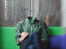 Flying glasses. Abstract photo and illusion with a flying glasses and missing head of a dude Stock Photos