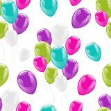 Flying glowing balloons colorful seamless pattern. Background, beautiful colorful illustration. Ideal for paper or fabric, birthday party designs Stock Photography
