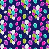 Flying glowing balloons colorful seamless pattern. Background, beautiful colorful illustration. Ideal for paper or fabric, birthday party designs Stock Photo