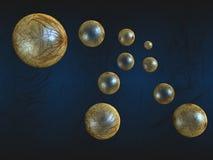 Flying gold balls. In dark blue royalty free illustration