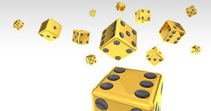 Flying Gold Dice Collection. Gold Dice on White Backgound 3D Illustration (with clipping path Royalty Free Stock Photos