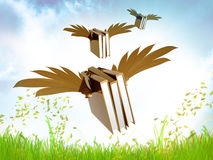 Flying gold educational books illustration Royalty Free Stock Photos
