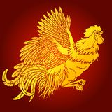Flying rooster gold on red background Royalty Free Stock Images