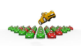 Flying golden car and lots of usual cars. Stock Photography