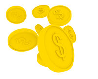 Flying golden coins in cartoon style Stock Images