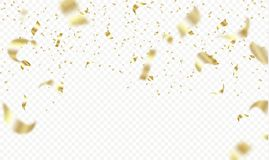 Flying golden confetti on transparent background. Vector holiday illustration. Festive decoration. Flying golden confetti on transparent background. Vector Royalty Free Stock Photography