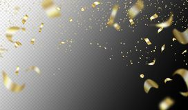Flying golden confetti on transparent background. Vector holiday illustration. Festive decoration. Flying golden confetti on transparent background. Vector Stock Image