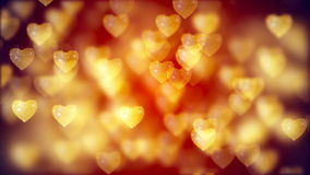 Flying Golden Hearts, Abstract Loopable Background stock video footage