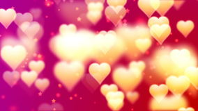 Flying Golden Hearts. Abstract Loopable Background stock video footage