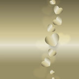 Flying Golden Hearts. Flying Golden Hearts on the Golden Gradient Royalty Free Stock Image