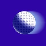 A flying golf ball. On blue background Royalty Free Stock Photos
