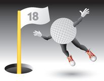 Flying golf ball character on 18th hole. Cartoon character of a golf ball on the 18th hole Stock Image
