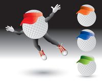 Flying golf ball characters with visors. Cartoon characters of golf balls with visors Royalty Free Stock Images