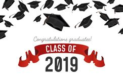 Flying Graduate caps on white background. Student hats with congratulations text. Class on 2019 invitation. Vector illustration vector illustration