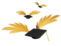 Flying graduation caps illustration Royalty Free Stock Photography