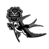 Graphic swallow carrying flower. Flying graphic swallow carrying red flower. Vector old school tattoo design isolated on white background. Traditional style Stock Photography