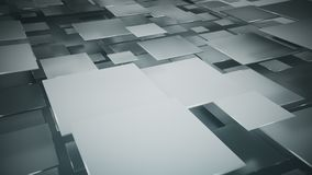Flying gray squares abstract 3D render. Flying gray squares abstract geometric background. 3D render stock illustration