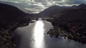 Flying through the Great Glen above Loch Oich in the scottish highlands - United Kingdom.  stock footage