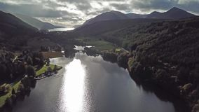 Flying through the Great Glen above Loch Oich in the scottish highlands - United Kingdom.  stock video