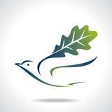 Flying green bird, save green Stock Photos