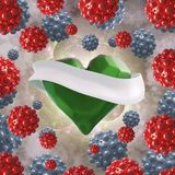 Flying green chopped heart with the white ribbon and the molecular spheres around. Copyspace for text Valentines day 3d illustrati Royalty Free Stock Photo