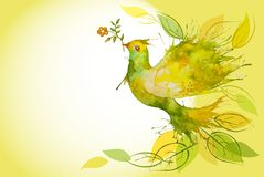 Flying Green Dove  - horizontal background Royalty Free Stock Photography