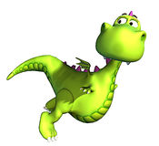 Flying green dragon baby dino Royalty Free Stock Photos
