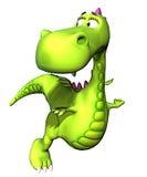 Flying green dragon baby dino Royalty Free Stock Photos