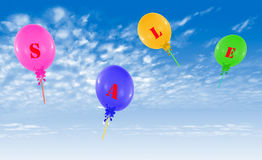 Flying group of balloons, concept of sale message for shop Stock Images