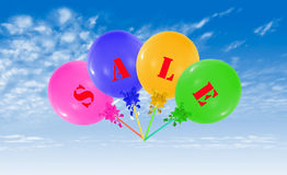 Flying group of balloons, concept of sale message for shop Stock Image