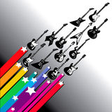 Flying guitars. An illustration or artistic drawing of a variety guitars streaking or flying in formation with stars and colorful streamers vector illustration