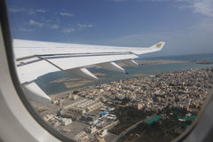 Flying Gulf Air from Bahrain International Airport Stock Image