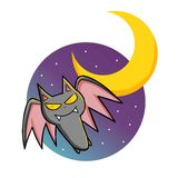 Flying Halloween Bat in the night. Royalty Free Stock Photo