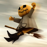 Flying halloween pumpkin blur sky Royalty Free Stock Images