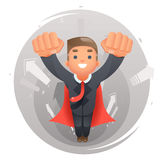 Flying happy cute superhero businessman character growth success infographic arrows background flat design vector. Flying happy cute superhero businessman Stock Images