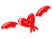Flying happy heart character Royalty Free Stock Photography
