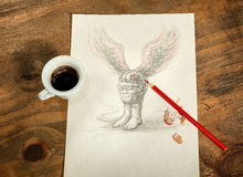 Flying head with a cup of coffee. Royalty Free Stock Images