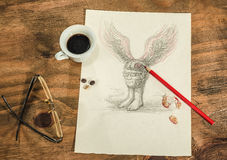 Flying head with a cup of coffee. Stock Images