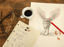 Flying head,a cup of coffee and a sheet with mathematical formulas. Flying head with a cup of coffee,a sheet with mathematical formulas,glasses and a pencil on Royalty Free Stock Photo
