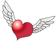 Flying heart. A heart with wings, Illustration done on PC Royalty Free Stock Photos