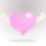 Flying Heart. Flying pink heart on background Royalty Free Stock Images