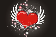 Flying heart. Lovely Valentine heart with wings flying Royalty Free Stock Photo