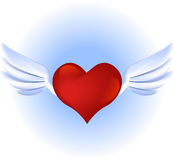 Flying Heart. With wings over the sky Royalty Free Stock Images
