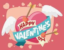 Flying Heart with Arrows and Valentine's Day Greeting Message, Stock Image