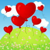 Flying heart balloons Stock Images