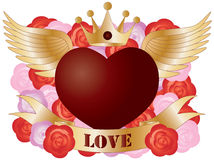 Flying Heart with Banner and Roses Royalty Free Stock Photography