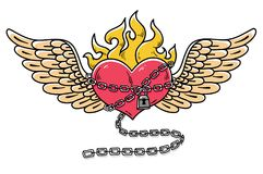 Flying heart in chains of love. Flaming heart tattoo. Loving heart on chain. Tattoo heart flushed with love. Old school styled Stock Photo