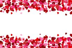 Flying heart confetti, valentines day background, romantic love simple texture. Valentine`s Day card royalty free stock photography