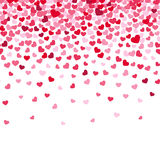 Flying heart confetti, valentines day vector background stock illustration